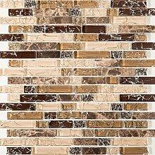 1qm Gebrochen Glas und Marmor Naturstein Mosaik