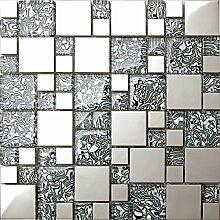 1qm Glas mit folien effekt und Edelstahl Mosaik