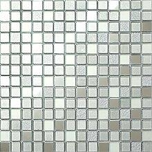 1qm Glas Mosaik Fliesen 30cm x 30cm Matte Silber