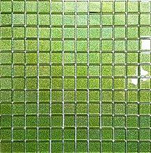 1qm Glas Mosaik Fliesen Matte in Grün mit Glitzer