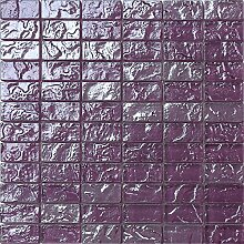 1qm Glas Mosaik Fliesen Matte in Lila Texturiert