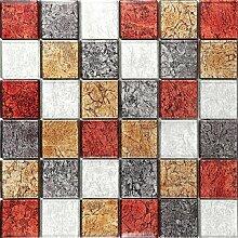 1qm Glas Mosaik Fliesen Matte in Rot, Bronze,