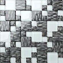 1qm Glas Mosaik Fliesen Matte in Weiß, Schwarze