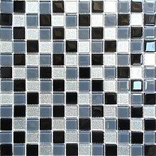 1qm Glas Mosaik Fliesen Matte Schwarz, Grau und