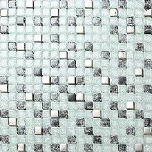 1qm Glas Mosaik Fliesen Matte Weiß, Schwarz und