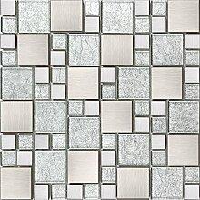 1qm Glas und Edelstahl Mosaik Fliesen Matte Silber