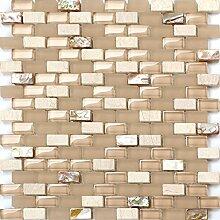 1qm Perlmutt, Glas und Naturstein Mosaik Fliesen