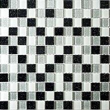 1qm Schwarze, weiß und silberne Glasmosaikfliesen