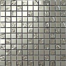 1qm Silber Edelstahl und texturiert Glas Mosaik