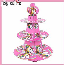 1Set Einhorn Party 3-Tier Rosa Kuchen Stand