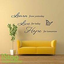1STOP Graphics Shop - Erfahren Sie Leben Hoffnung Wandaufkleber Zitat - Heim Lounge Wandkunst Aufkleber X107 - Orange, Large