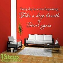 1STOP Graphics Shop - Every Day ist A New Beginning Wandaufkleber Zitat - Wandkunst Aufkleber X331 - Gold, Large