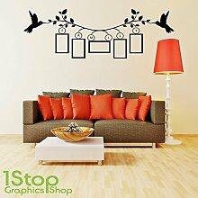 1STOP Graphics Shop - Familie Bilderrahmen Wandaufkleber Zitat - Schlafzimmer Heim Wandkunst Aufkleber X335 - Rot, Large