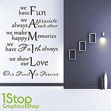 1STOP Graphics Shop - Familie Wandaufkleber Zitat - Schlafzimmer Lounge Wandkunst Aufkleber X366 - Hellgrün, Large 60cm x 75cm