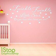 1STOP Graphics Shop - Funkeln funkeln Wandaufkleber Zitat - Kinderzimmer Kindergarten Heim WAND KUNST Aufkleber X311 - Gold, Large