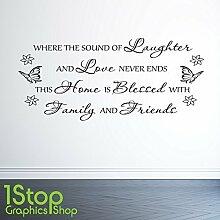1STOP Graphics Shop - Gelächter Liebe Heim Familie Wandaufkleber Zitat - Schlafzimmer Heim Wandkunst Aufkleber X246 - Dunkelgrau, Large