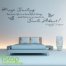 1STOP Graphics Shop - Marilyn Monroe Keep Smiling Wandaufkleber Zitat - Schlafzimmer Wandkunst Aufkleber X154 - Hellgrün, Large