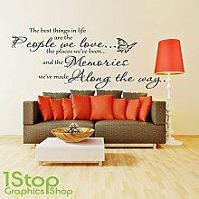 1STOP Graphics Shop - The best things in life Wandaufkleber Zitat - Schlafzimmer Wandkunst Aufkleber X164 - Gelb, Large