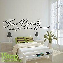 1STOP Graphics Shop - Wahre Schönheit Wandaufkleber Zitat - Schlafzimmer Lounge Heim WAND KUNST Aufkleber X254 - Dunkelgrau, Large