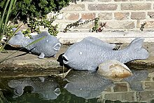 1x Figur Fisch Magnesia grau 65cm Outdoor