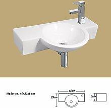 1x Keramikwaschbecken klein oval aufsatz