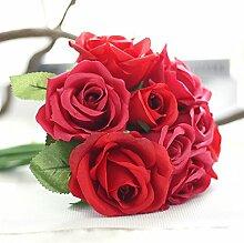 1x Künstlicher Rosenstrauß Wedding Dekoration Kunstblumen Rose Home Deko mit 9 Blüten, #2