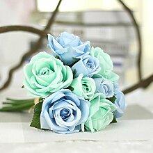1x Künstlicher Rosenstrauß Wedding Dekoration Kunstblumen Rose Home Deko mit 9 Blüten, #7
