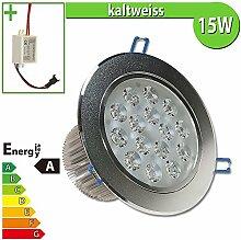 1x LED Spot Einbauleuchte EEK A 15W rund kaltweiss - Einbau Strahler Set Decken Leuchte Lampe