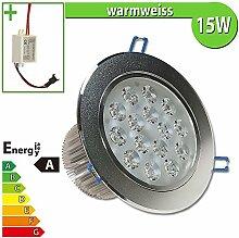 1x LED Spot Einbauleuchte EEK A 15W rund warmweiss - Einbau Strahler Set Decken Leuchte Lampe