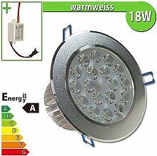 1x LED Spot Einbauleuchte EEK A 18W rund warmweiss - Einbau Strahler Set Decken Leuchte Lampe