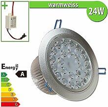 1x LED Spot Einbauleuchte EEK A 24W rund warmweiss - Einbau Strahler Set Decken Leuchte Lampe