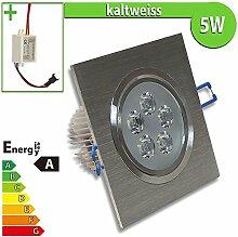 1x LED Spot Einbauleuchte EEK A 5W ECKIG KALTWEISS - Einbau Strahler Set Decken Leuchte Lampe