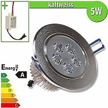 1x LED Spot Einbauleuchte EEK A 5W rund kaltweiss - Einbau Strahler Set Decken Leuchte Lampe