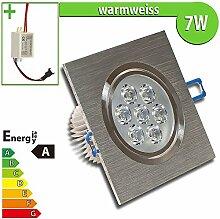 1x LED Spot Einbauleuchte EEK A 7W ECKIG WARMWEISS - Einbau Strahler Set Decken Leuchte Lampe