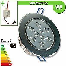 1x LED Spot Einbauleuchte EEK A 9W rund warmweiss - Einbau Strahler Set Decken Leuchte Lampe