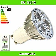 1x LEDVero 3x1W HIGH POWER GU10 LED SPOT Lampe Strahler Licht Warmweiss