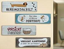 1x Metallschild Spruch:Das Leben ist doch ein Ponyhof 30x8,5 cm Spruch Geschenk Dekoration Pferd Pony