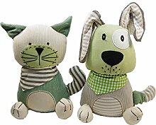 1x Türstopper Patchwork Hund Katze grün beige H 27 cm, B 20 cm (1 Stück)