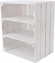 1x Vintage-Möbel 24 weißes Küchenregal mit 3