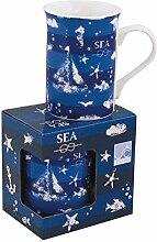 1X Vintage- Porzellan- Tasse, Kaffeepott, Becher- maritime Motive in dekorativer Geschenkebox