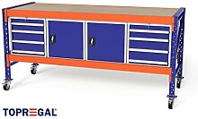 2,3m Multifunktionswerkbank MFW1000, 104cm hoch, 80cm tief, Multiplexplatte, fahrbar, 2x WS4 / 2x WST
