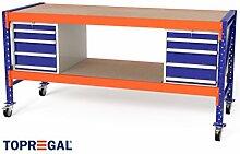 2,3m Multifunktionswerkbank MFW1000, 94cm hoch, 80cm tief, Multiplexplatte, fahrbar, 2x WS4 / 2x Holzboden