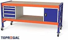 2,3m Multifunktionswerkbank MFW1000, 94cm hoch, 80cm tief, Multiplexplatte, fahrbar, 1x WS4 / 1x WST / 2x Holzboden