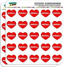 2,5cm (2,5cm) Scrapbooking, Aufkleber I love Herz Namen Stecker M Mac Marshall