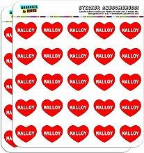 2,5cm (2,5cm) Scrapbooking, Aufkleber I love Herz Namen Stecker M Mac Malloy