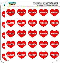 2,5cm (2,5cm) Scrapbooking, Aufkleber I love Herz Namen Stecker M Mac Maddox
