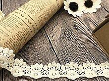 2.5 CM Breite Europa Der kriecher muster Inelastische Stickerei Spitzenbesatz, Vorhang Tischdecke Slipcover Braut Selbermachen-Kleidung/Zubehör (3,7 Meter in einem Paket) (creme)