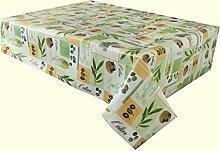 2,5Meter (250cm x 137cm) Vinyl-Tischdecke, All Things Olive. Patchwork von Oliven, Öl und Bäume in Grün, sand und Creme. 8-Sitzer, länglich, Größe, abwischbar, Textil (178)