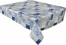 2,5Meter (250x 137cm) Vinyl Rechteckige Tischdecke blau floral Patchwork, PVC abwischbar Textil 8-Sitzer Größe (230)