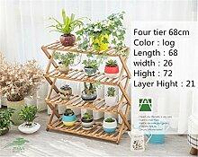 2-5 Tier Rechteckigen Multi klappregal Holzpflanze Blume Ausstellungsstand Holz Pot Shelf Lagerregal mehrzweck haushalt schuhregal lagerregal ( Color : Four tier , Größe : 68cm )